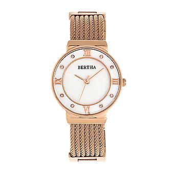 Bertha Dawn Mother-of-Pearl Cable Bracelet Watch - Rose Gold
