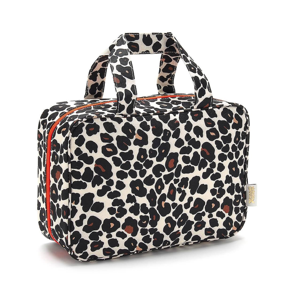 'charlotte' hanging traveller wash bag in leopard tan