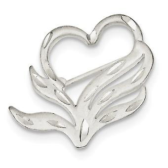 925 sterling sølv satin finish gnistre-cut Heart PIN-3,5 gram