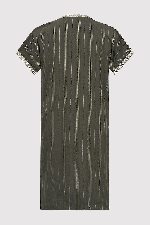 Gandoura haroun boy's short sleeve collarless long robe thobe in khaki (2-12yrs)