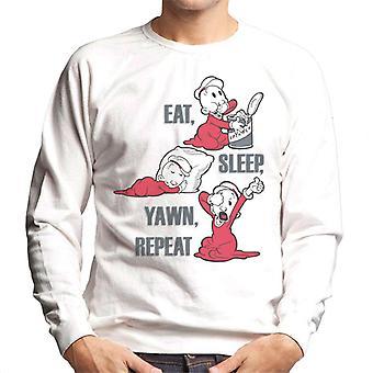 Popeye sweepea spise søvn yawn gentagelse mænd ' s sweatshirt