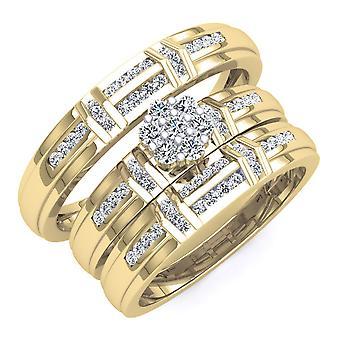 Dazzlingrock Collection 0.50 Carat (ctw) 18K Round White Diamond Engagement Ring Bridal Set 1/2 CT, Yellow Gold