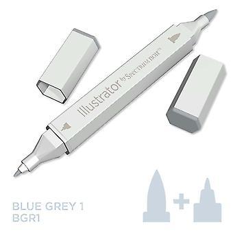 Illustrator van spectrum Noir enkele pen-blauw grijs 1