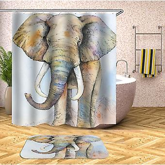 Light Colors Elephant Drawing Shower Curtain
