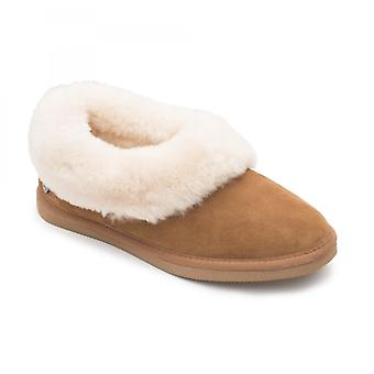 Padders Cuddle Ladies Sheepskin Extra Wide (2e) Slippers Camel
