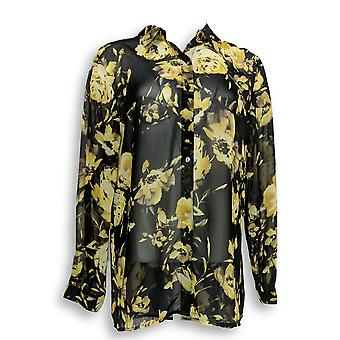 Susan Graver Women's Top Printed Sheer Chiffon Big Shirt Black A272358 PTC