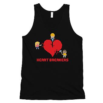 Heart Breakers Mens Black Funny Graphic Tank Top Pour Cadeau d'entraînement