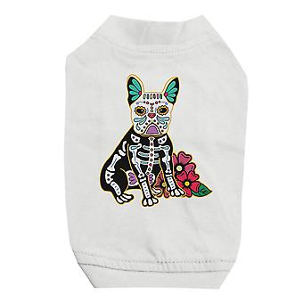 Frenchie Day Of Dead Funny Halloween Cute White Pet Shirt for Small Dogs