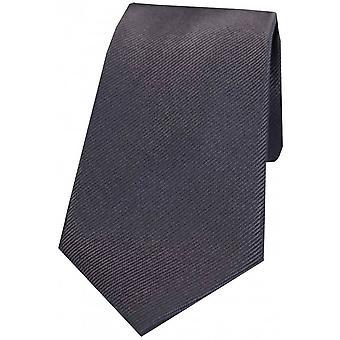 David Van Hagen Diagonal Ribbed Plain Silk Tie - Charcoal Grey