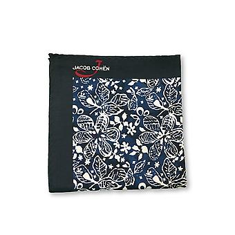 Jacob Cohen Pocket Square in navy/blue/white floral design
