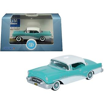 1955 Buick Century Turquoise and Polo White 1/87 (HO) Scale Diecast Model Car by Oxford Diecast
