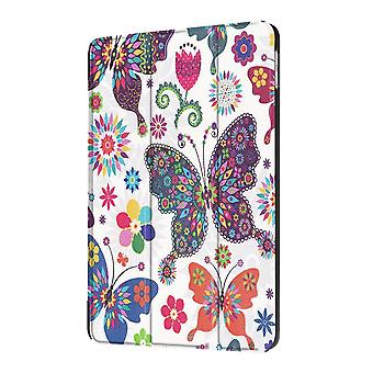 iPad 2018、2017 9.7inケース、カラフルな蝶の耐久性3つ折りレザーカバー