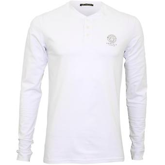 Versace Iconic Long-Sleeve Henley T-Shirt, weiß
