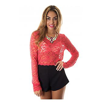 Aliana Long Sleeve Lace Crop Top in