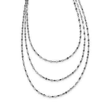 925 Sterling Silver Rhodium plated Polished Multi strand Necklace 17.5 Inch Jewelry Gifts for Women