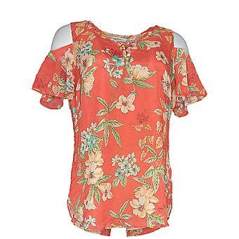 Isaac Mizrahi Live! Women's Top Floral Clip Dot Blouse Orange A306761