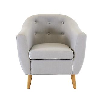 Charles Bentley Linen Tufted Upholstered Tub Button Armchair in Modern Grey with Wooden Legs