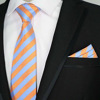 Bright blue & orange stripe necktie & pocket square set
