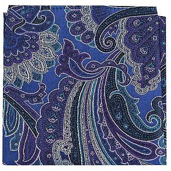 Posh and Dandy Edwardian Paisley Silk Pocket Square - Blue/Purple/Green