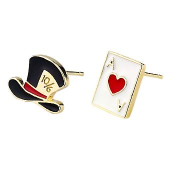 Magician Hat and Playing Card Stud Earrings