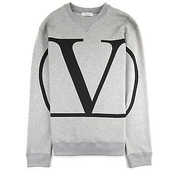 Valentino Go Logo Print Crew Sweatshirt Grau