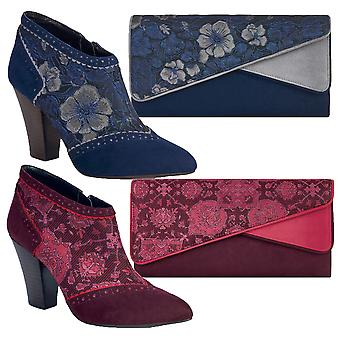 Ruby Shoo Blue / Vin Faux Suede Nicola Ankle Boots et Matching Sydney Bag