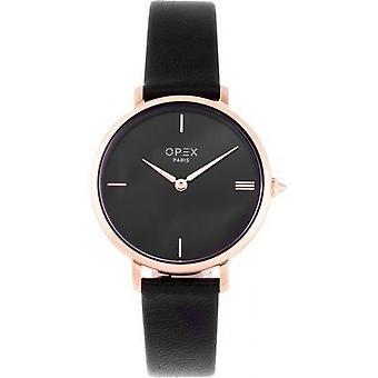 Opex OPW034 Watch - ROTONDE Black Leather Bracelet Box Steel Steel Pink Women