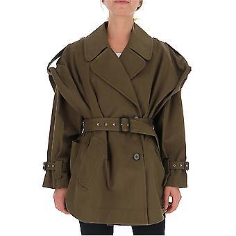 Alberta Ferretti 06276632a0438 Women's Green Wool Outerwear Jacket
