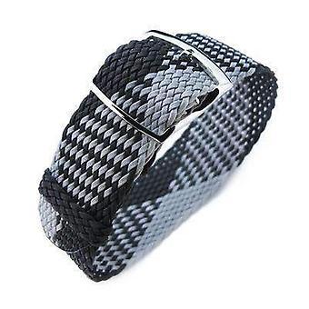 Strapcode fabric watch strap 20, 22mm miltat perlon watch strap, black & light grey, polished ladder lock slider buckle