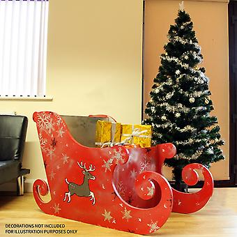 Santa Sleigh Christmas Decoration MDF Wood Freestanding Presents Display Cart