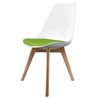 Fusion Living Eiffel Inspired White And Green Dining Chair With Squared Light Wood Legs