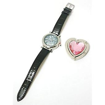 Paris Hilton Leather Strap Ladies Fashion Watch & Heart Handbag Holder HWX004A