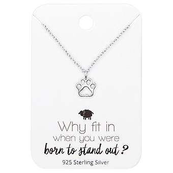 Paw Print Necklace On Motivational Quote Card - 925 Sterling Silver Sets - W35910x