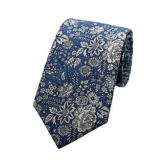 Blue & White Liberty Art Fabric Floral Print Tie