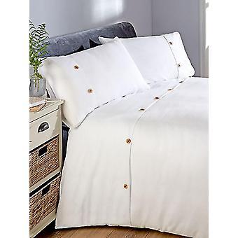 Capa do edredom waffle e conjunto de cama de fronha - Super King, Branco