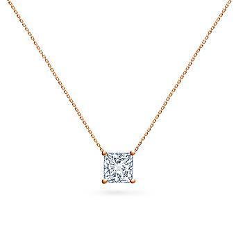 Halsband Solitaire Diamond Square-cut på 18K Guld