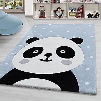 Children's Rug Panda Bear Patroon Kwekerij Contour Cut Pastel Blauw