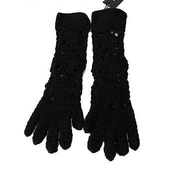 Dolce & Gabbana Black 100% Cashmere Knitted Floral Elbow Gloves LB273-S