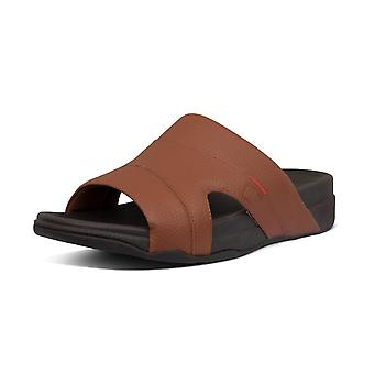 FitFlop Freeway™ Pool Slide Men's Leather Sandals In Dark Tan