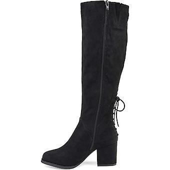 Brinley Co. Womens Knee-High Heeled Boot Black, 7 Regular US