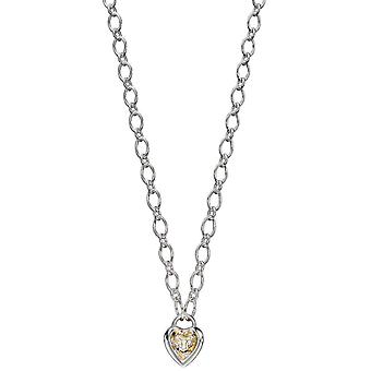 Elements Silver Heart Lock Chain Collier - Argent/Or