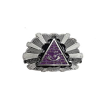 Lowlife Badge Buckle in Black/Purple/Silver