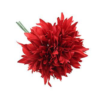 27cm Rich Red Dahlia - 3 Short Artificial Fabric Flower Stems