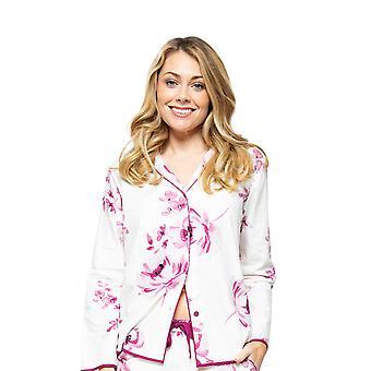 Cyberjammies Nova 4579 Kvinnor's Cream Mix Berry Floral Print Pyjama Top