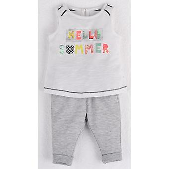 Mamino  Baby   Girl  Hello Summer Grey Pant and White Sleeveless Tee Shirt with Sequin and Glitter Print