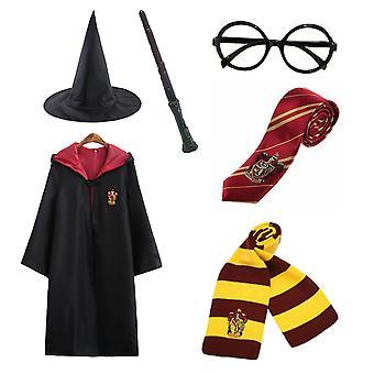 Harry Potter 6pc Ensemble Magic Wizard Cosplay Fancy Dress Cape Cloak Costume