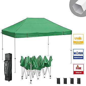 Instahibit 10x15 ft Pop Up Canopy Tent CPAI-84 Commercial Outdoor Trade Fair Canopy Shade Party Tent 1680D Roller Bag