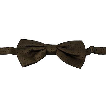 Dolce & Gabbana Brown Polka Dots Silk Adjustable Neck Papillon Men Bow Tie -- FT10767024