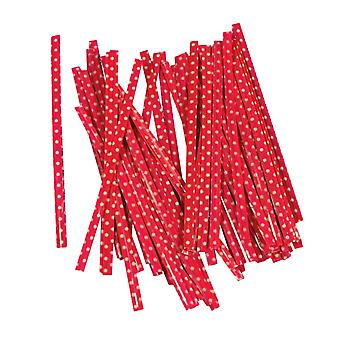 100PCS Gift Bag Sealing Wire Twist Ties Red 10cm