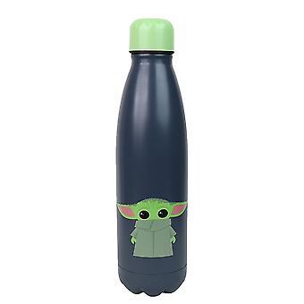 The Mandalorian Wasserflasche Baby Yoda grün/schwarz, bedruckt, 100 % Edelstahl, Fassungsvermögen ca.  ml.